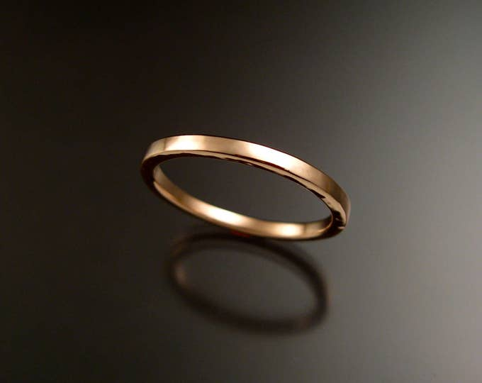 Rose Gold square wedding Band stackable pink 14k gold ring