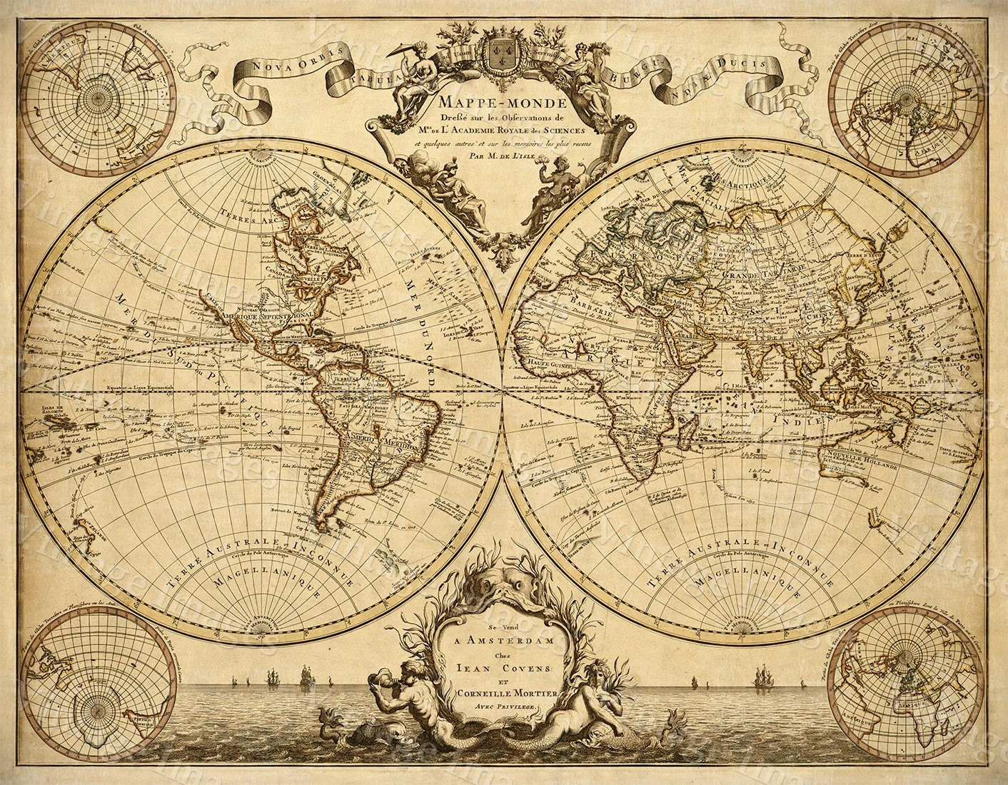 1720 Old World Map Restoration decor Style