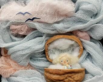 "Collectible miniature art doll in walnut shell Angel gift Little angel figurine Communion favor Tiny fairy Interior micro mini doll 0.9"""