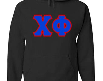 Chi Phi Jumbo Twill Hooded Sweatshirt (Royal Blue/Red)