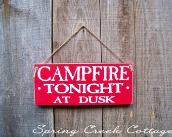 Signs, Campfire Tonight, Lake, Cabin, Home Decor, Rustic, Wood Signs, Handpainted, Lake House, Lodge