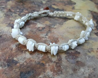 Puka Shell Anklet, Hemp Anklet, Natural Jewelry, Beach Jewelry, Surfer Girl, Handmade Jewelry, Shell Anklet, Shell Jewelry, Gift for Her