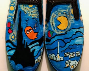Pac man Starry Night hand painted shoes