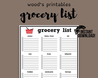 Grocery List PDF Printable; Grocery List Notepad, To Do List, Household Binder, Home Binder, Grocery List Printable, Grocery List