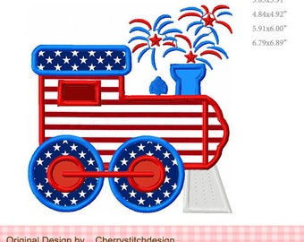 Train 4th of July Firework Train Transportation Machine Embroidery Applique Design JULY0029 -for 4x4 5x7 6x10 hoop