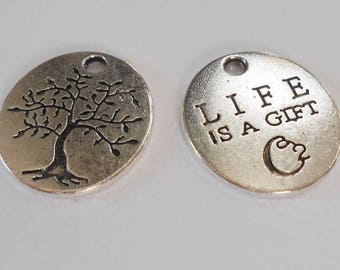 Silver Pendant, antique, tree of life, 20 x 18 mm. (9373908)