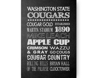 Washington State Cougar Chalkboard Digital Download