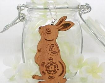 Rabbit Jewelry Bunny Necklace Woody the Woodland Wonderbun - Bunny Pendant - Rabbit Necklace - Bunny Rabbit Jewelry - Bunny Jewelry - Nature