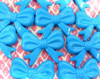 5x Huge 45mm Blue Bow Beads Bowknot