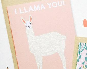 Llama Valentines Day Card, I Llama You, Llama V Day Card, Llama Vday, Llama Card, Alpaca Valentines,
