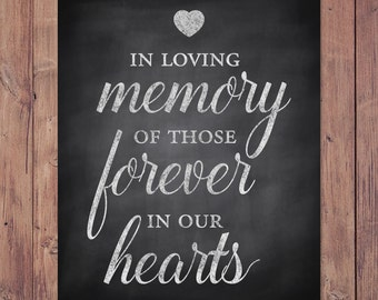 Rustic wedding memorial sign - in loving memory of those forever in our hearts - PRINTABLE 8x10 - 5x7 - 4x6
