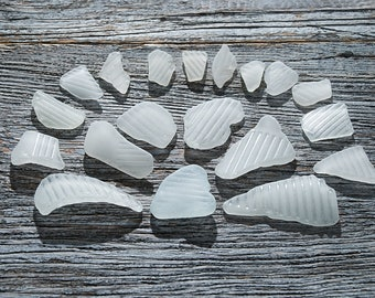 Ribbed seaglass pieces Patterned sea glass Rare beach glass Sea glass jewelry supplies Nautical jewelry Bulk seaglass Table decor / 19 pcs