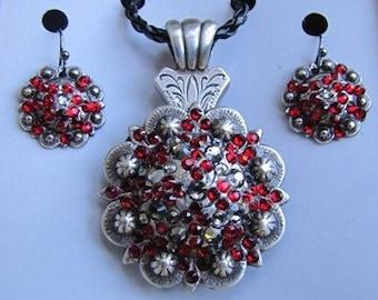 Swarovski Crystal Necklace & Earring Set  -Red-