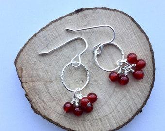 Carnelian cluster drop earrings, gemstone earrings, orange earrings, silver and gemstone earrings, JoolieJooles, sterling silver earrings