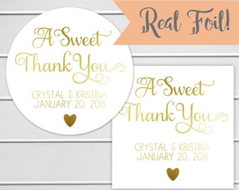 A Sweet Thank You Favor Stickers, Wedding Favor Sticker, Favor Stickers, Favor labels (#533-F)