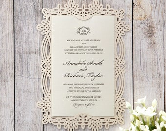 Victorian-Inspired Frame Wedding Invitation, Laser Cut - IWP14111-PR