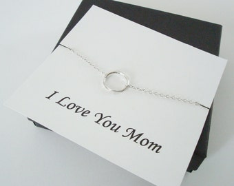 Infinity Twiggy Circle Silver Necklace ~~Personalized Jewelry Gift Card for Mom, Mother in Law, Mother of Groom, or Step Mom