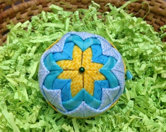 Folded Fabric Christmas Ornament, Quilted Holiday Ornament, Turquoise, Yellow, Easter Decoration, Quiltsy Handmade Gifts Under 20
