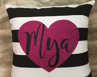 Personalized stripped pillow, personalized room decor