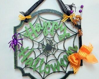 Halloween, Halloween Wall Art, Halloween Door Decor, Wall Hanging, Door Decor, Spider Web, Halloween Decorations, Happy Halloween