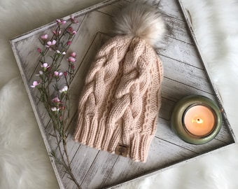 Cabled Slouchy Beanie With Faux-Fur Pom-Pom **READY TO SHIP**