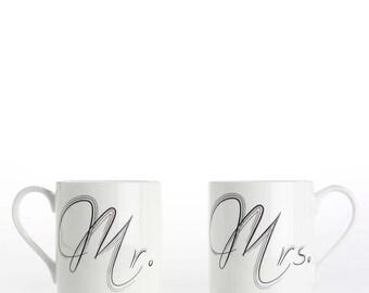 "Coffee mug, coffee cup Set of 2 ""Mr."" and ""Mrs."" bone china mugs"