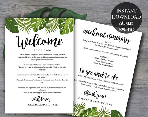 Tropical Wedding Weekend Itinerary Template | Wedding Welcome Letter |  Welcome Bag |Instant Download | Printable PDF Editable File #TPC