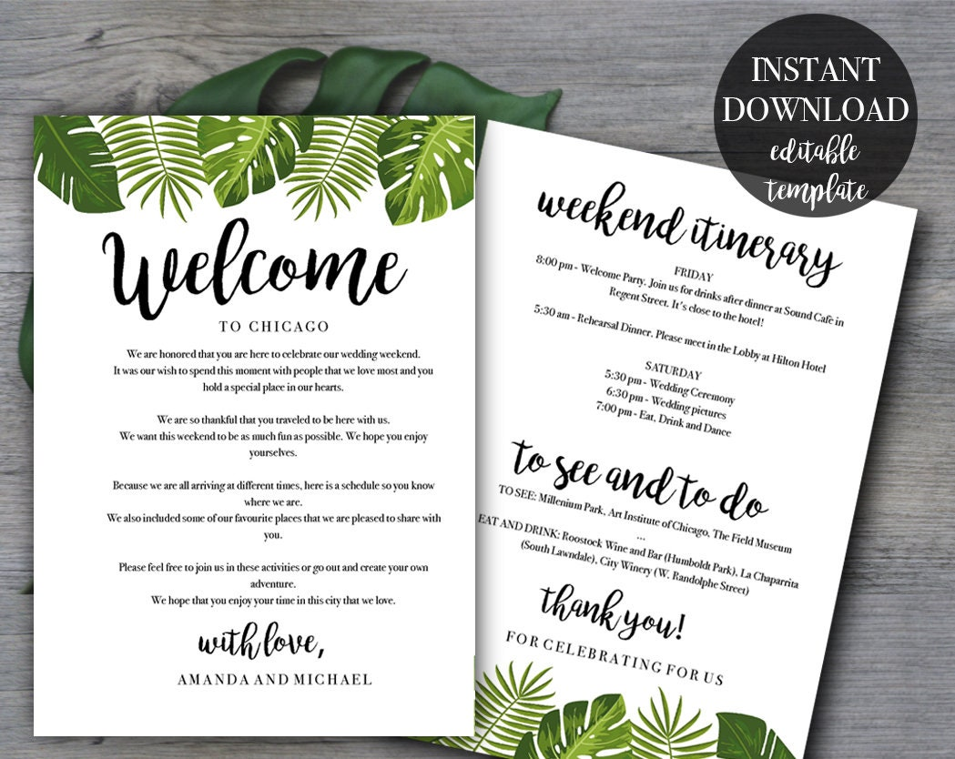 Tropical Wedding Weekend Itinerary template Wedding welcome