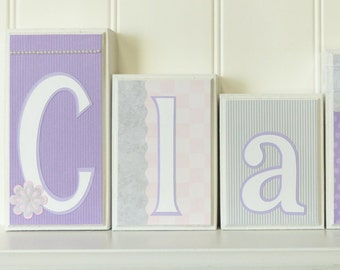 Girl Name Blocks Custom Letters Home Decor Pearls Baby Pink, Lavender, Gray, Home Decor Baby Letter Blocks Routed Edge Name Block Nursery