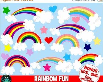 75% OFF SALE Rainbow Clipart, Heart Clipart, Star Clipart, Commercial Use, Digital Clip Art - UZ872