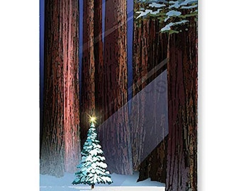 Christmas Tree in the Forest Holiday Card 18 Cards & Envelopes - KX351