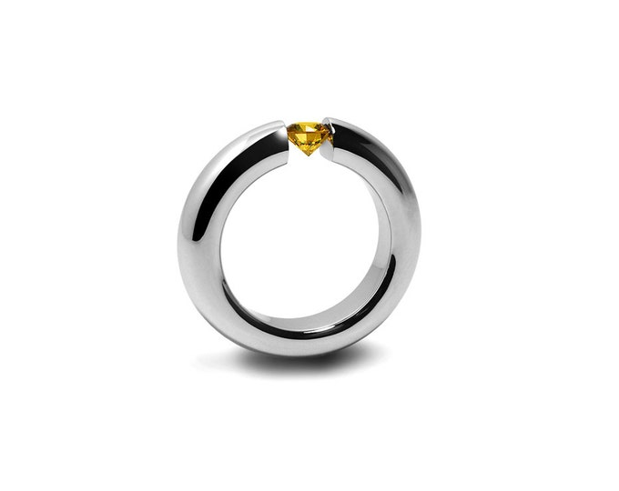 Yellow Topaz Mens Tension Set Ring in Stainless Steel