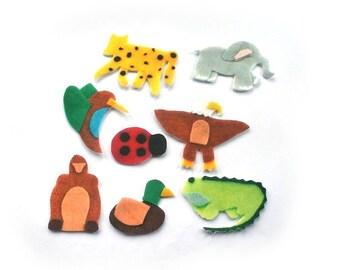 Montessori Toys - Flannel Board Stories - Felt Animals - Felt Board Story - Quiet Book - Backyard - Jungle - Farm - Forest