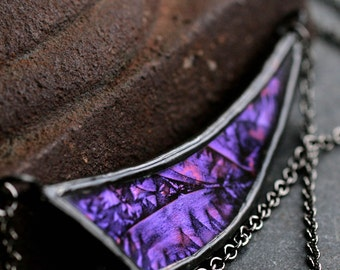 asymmetrical necklace purple pendant stained glass necklace modern boho necklace gunmetal necklace curved bib necklace DEEP VIOLET DART