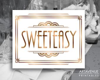 """Gatsby Sweeteasy Printable Art Gatsby Wedding Art Deco Candy Bar Sign - """"SWEETEASY"""" Sign - ADBR1"""