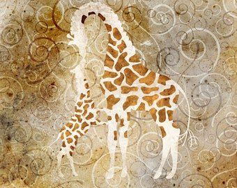 DIGITAL Download Original Giraffe Wall Art Rebecca Johnson