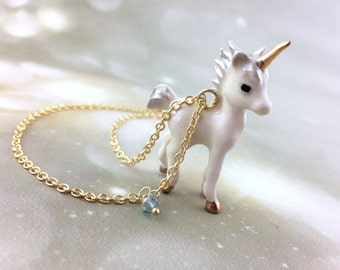 Unicorn Gift - Women Unicorn Necklace - Gold Unicorn Jewelry Wedding -Unique Birthstone Jewelry -Unicorn Costume Cosplay - Gift Her Under 40