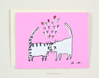 Headbutt Cats Love Card - Cat Card - Love You