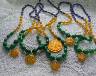 P-5--Vintage New Orleans Mardi Gras beads, made in  Hong Kong from Krewe of Rex--King of Carnival 1970's & 80's
