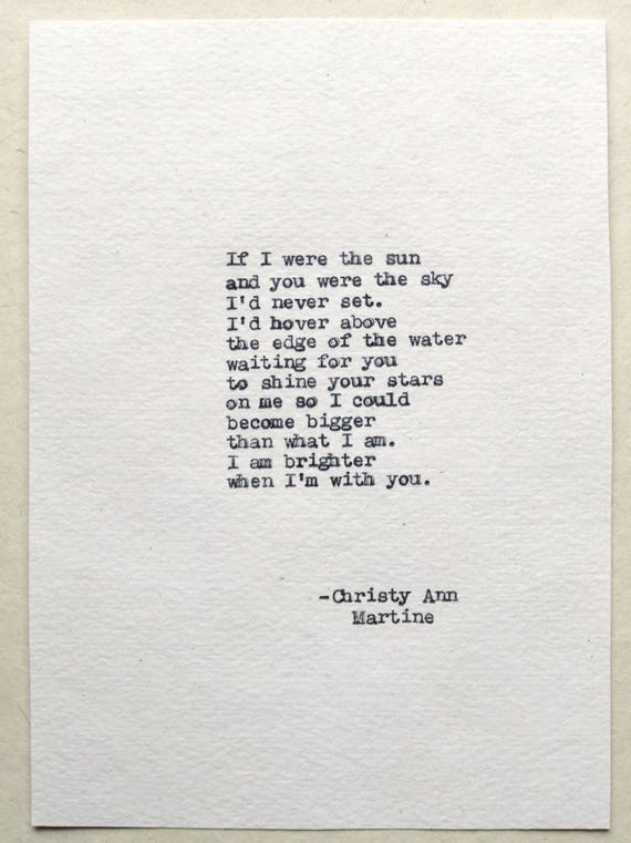 Anniversary Gifts for Husband - If I Were the Sun Love Poem - Hand Typed by Poet onto Handmade Paper