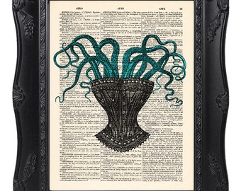 Corset with octopus, dictionary art print, Original artwork, Octopus print, Home Wall Art, Wall decor, Funny gift poster [ART 051]