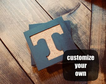 Custom Metal Coasters, Coasters, Corkboard Coaster, College Decor, Table Decor, Custom Metal Sign, Metal and Cork Coasters, Tennessee Vols
