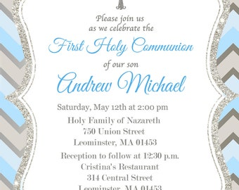 First Communion Invitation, Boy, Silver, Blue - Printable or Printed