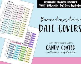 Pastel and Bright Bowtastic Date Covers: Printable Planner Functional Date Covers / Bow Functional Printable Planner Stickers / Cut Files