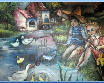 Children by the lake original painting