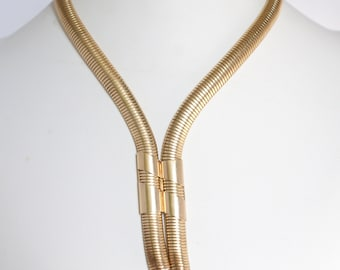 Vintage c1950s MID CENTURY 12k Gold Filled gf Snake Link Wrap Around or Lariat Necklace Wear It Two Ways Estate Jewellery Jewelry
