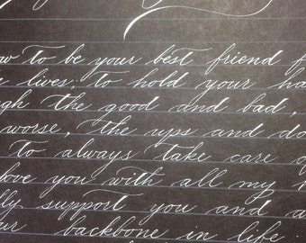 Vows, love letters, calligraphed special messages