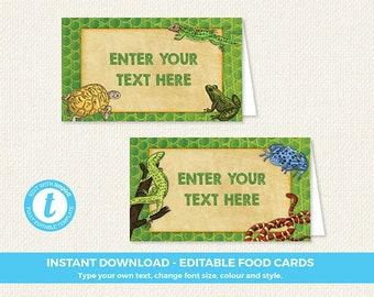 Reptile Food Labels, Reptile Food Tent, Reptile Food Signs, reptile printables, instant, editable food labels, editable food tents, templett