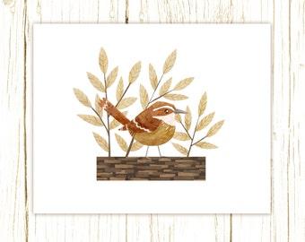 Carolina Wren Print -- bird art -- bird art 52 birds stephanie fizer coleman illustration south carolina state bird