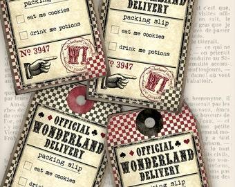 Printable Alice in Wonderland Delivery Tags gift printable hobby crafting scrapbooking instant download digital collage sheet - VDTAAL1094